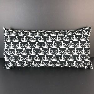 IKEA Mattram Black Cat Face White Lumbar Pillow